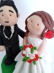 Cake topper Sposi - Bouquet con rose bianche e rosse